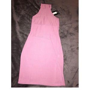 ac55cdc031f3 PLT Dresses - Mauve Ribbed High Neck Split Detail Bodycon Dress